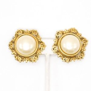 Vintage Gold Tone Faux Pearl Clip Earrings